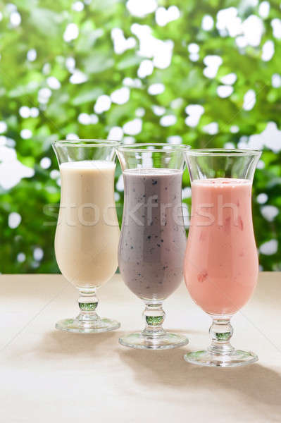 Blueberry, Strawberry and Banana milk shake  Stock photo © 3523studio