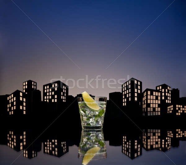 Metropolis mojito cocktail ijs drinken Stockfoto © 3523studio