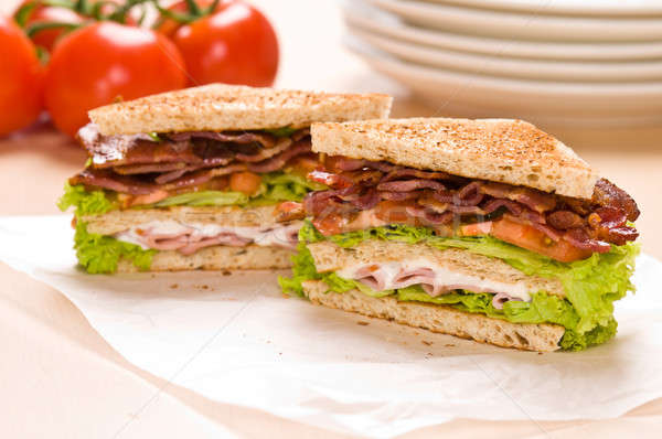 Two sandwich on wrapping paper Stock photo © 3523studio