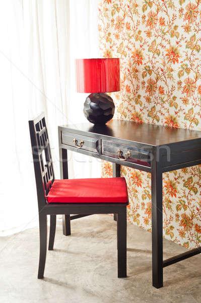 Luxury work desk with floral wallpaper Stock photo © 3523studio