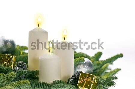 3  キャンドル 出現 本当の クリスマスツリー ストックフォト © 3523studio