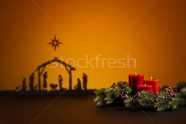 Birth Jesus and candles Stock photo © 3523studio