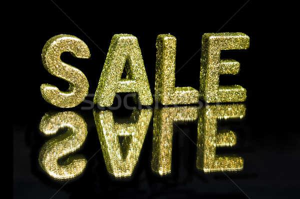 Hoofdletter geschreven verkoop schitteren effect zwarte Stockfoto © 3523studio