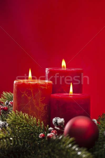 Red advent wreath with candles Stock photo © 3523studio