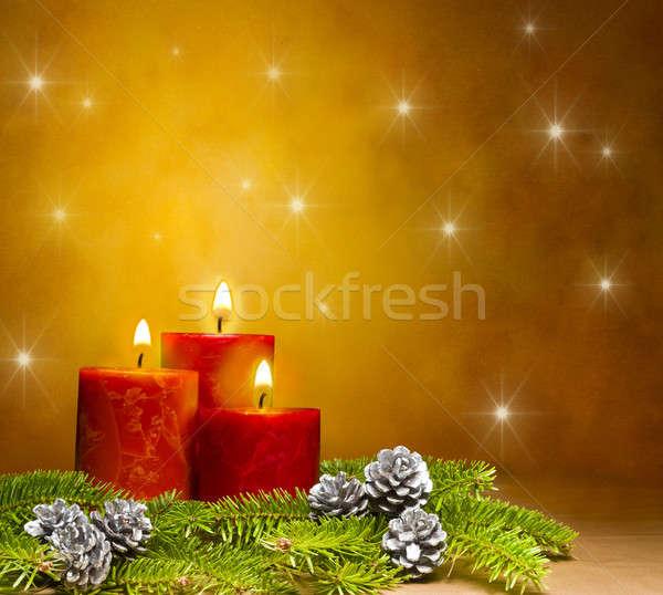 Kerzen dekoriert Niederlassungen Kiefer Tanne Raum Stock foto © 3523studio