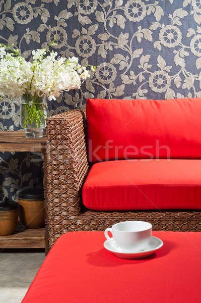 красивой мебель древесины дизайна таблице комнату Сток-фото © 3523studio