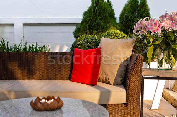 Foto stock: Aire · libre · patio · agradable · sofá · puesta · de · sol · madera