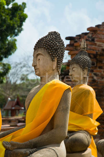 Kettő Buddha narancs sál ősi város Stock fotó © 3523studio
