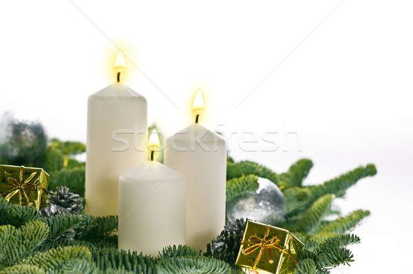 Három gyertyák advent igazi karácsonyfa ágak Stock fotó © 3523studio