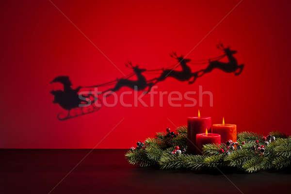 Stok fotoğraf: Kızak · mumlar · yol · hediyeler · ışık · yeşil