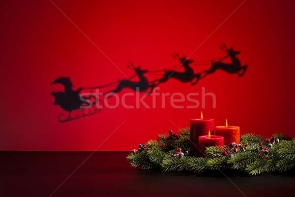 Santas sledge and candles Stock photo © 3523studio