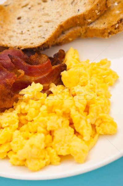 американский завтрак бекон яйцо красный Сток-фото © 3523studio