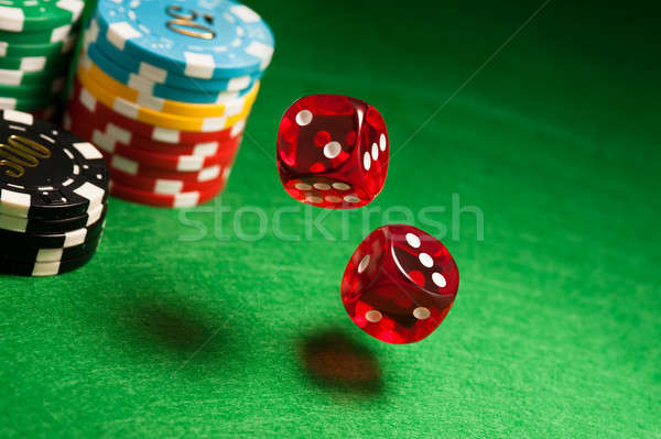 красный Dice казино таблице чипов цвета Сток-фото © 3523studio