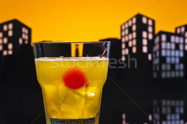 Foto stock: Motorista · coquetel · vidro · laranja · beber