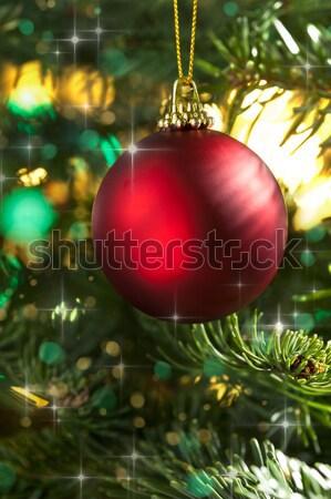 Decorativo rosso Natale gingillo albero di natale glitter Foto d'archivio © 3523studio
