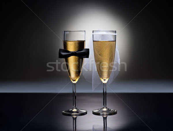 Champagne bril heterosexual decoratie rechtdoor paren Stockfoto © 3523studio