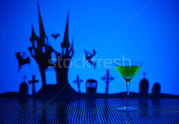 Foto stock: Verde · martini · halloween · bruxa · casa