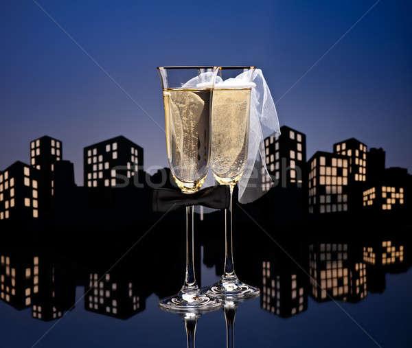 大都市 シャンパン カクテル レズビアン 眼鏡 セックス ストックフォト © 3523studio