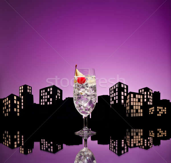 Metropolis gin cocktail glas drinken Stockfoto © 3523studio
