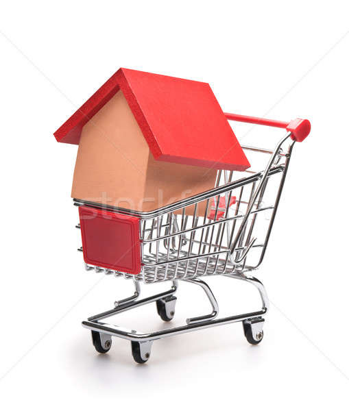 Shopping cart with red roofed house  Stock photo © 3523studio