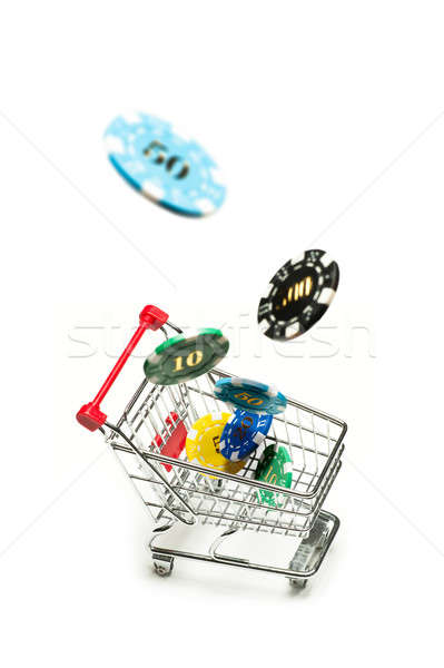 Carrinho de compras fichas voar metal assinar vermelho Foto stock © 3523studio