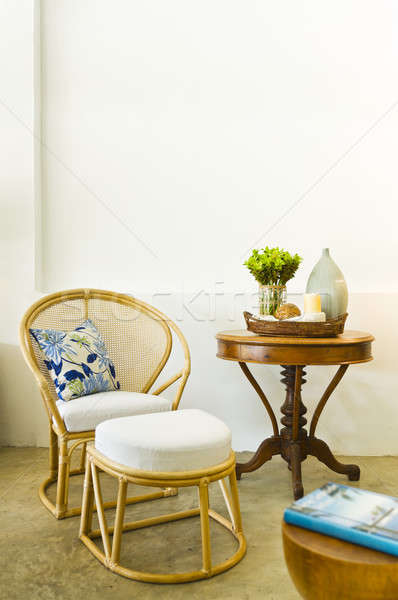 Table chair combination bamboo rattan seating area  Stock photo © 3523studio