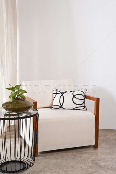 Bright white armchair in a living room Stock photo © 3523studio
