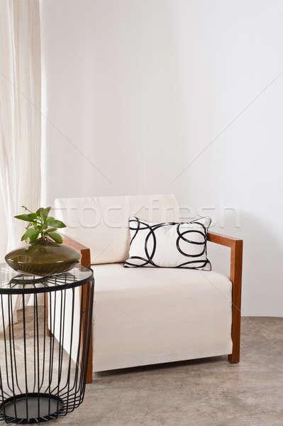 明るい 白 アームチェア リビングルーム 家 木材 ストックフォト © 3523studio