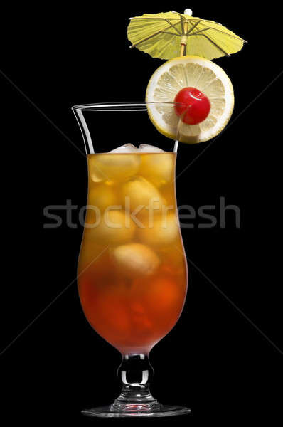 Tequila sunrise belle long drink verre noir Photo stock © 3523studio