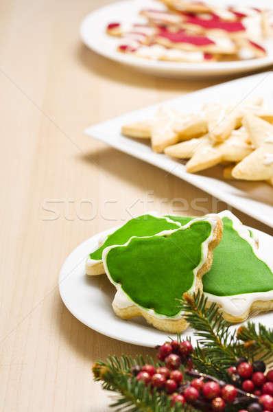 Рождества Cookies пластина украшение дерево Сток-фото © 3523studio