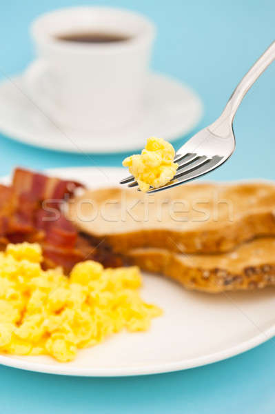 American breakfast, bacon and scrambled egg Stock photo © 3523studio
