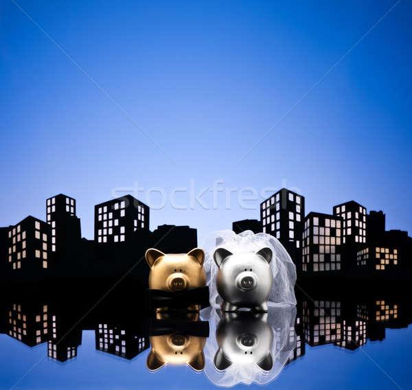 Metropolis stad varken bruiloft spaarvarken sluier Stockfoto © 3523studio