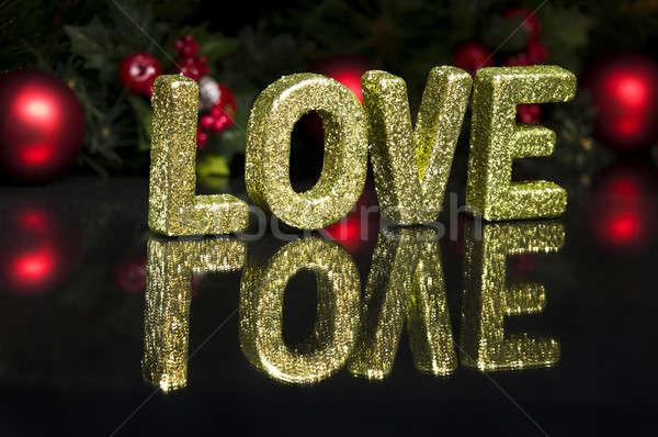 Hoofdletter geschreven liefde schitteren effect zwarte Stockfoto © 3523studio