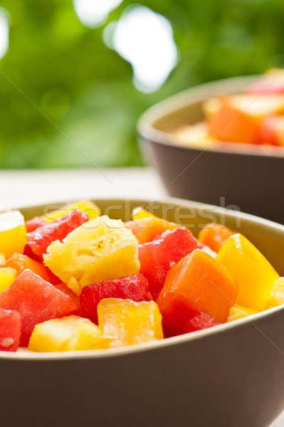 Dois tigela misto fruta tropical salada natureza Foto stock © 3523studio