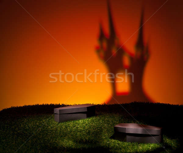 Halloween coffin on lawn Stock photo © 3523studio