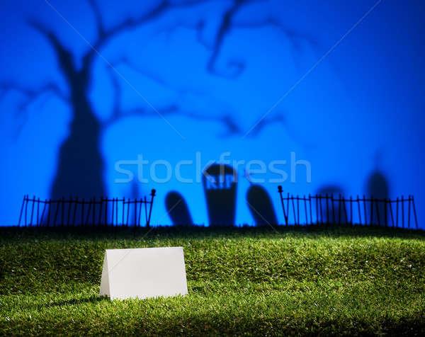 Halloween landschap tabel kaart boom kerkhof Stockfoto © 3523studio