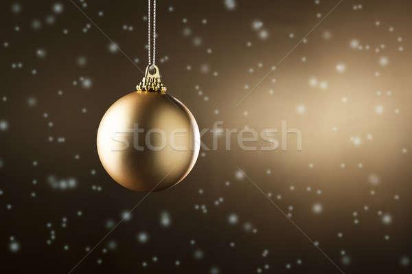 Albero di natale ornamento neve caduta party stelle Foto d'archivio © 3523studio