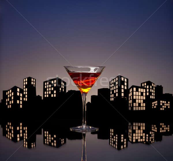 Metropolis Manhattan Cocktail Stock photo © 3523studio