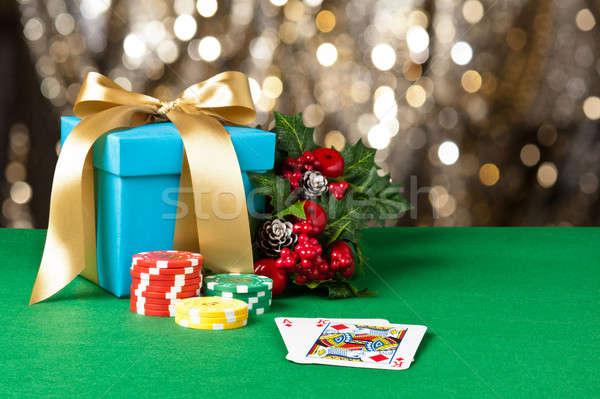 туз царя Рождества фишки для покера зеленый синий Сток-фото © 3523studio