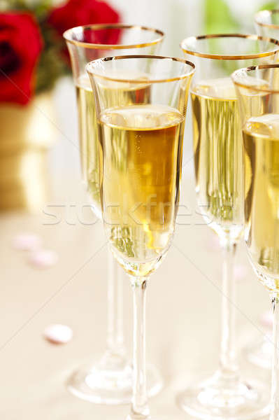 Wedding reception setting with champagne Stock photo © 3523studio