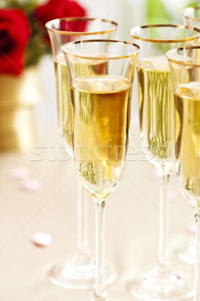 Réception de mariage champagne fleurs fleur mariage amour Photo stock © 3523studio