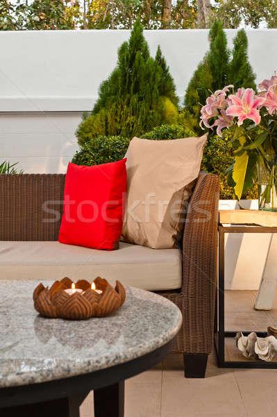 Outdoor patio seating are with nice Rattan sofa Stock photo © 3523studio