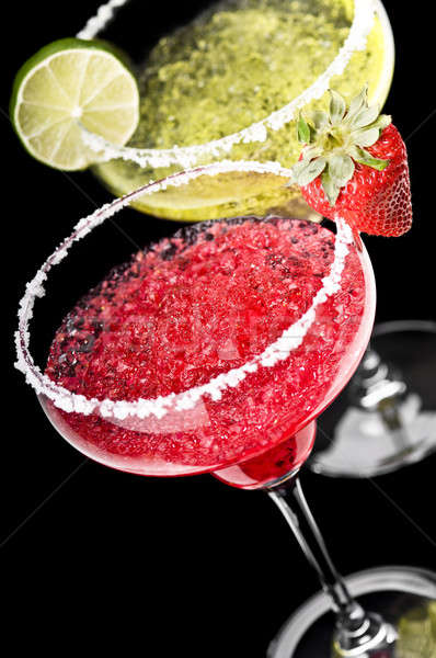 One Classic and a Strawberry Margarita in front of a black backg Stock photo © 3523studio