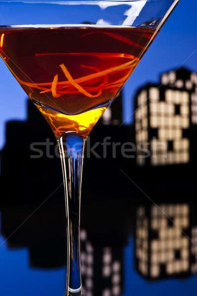 Metropolis Manhattan cocktail in city skyline setting Stock photo © 3523studio
