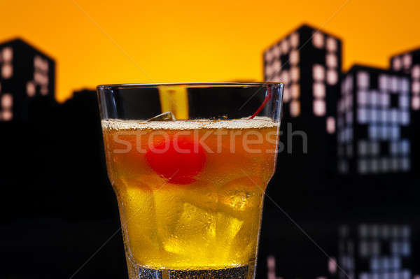 Métropole cocktail fruits verre orange Photo stock © 3523studio