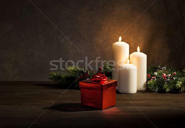 Сток-фото: свечей · настоящее · Рождества · сжигание · время · вечеринка