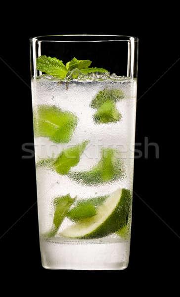 Mojito cocktail zwarte ijs groene bar Stockfoto © 3523studio