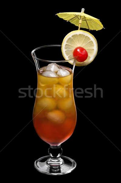 Tequila napfelkelte gyönyörű long drink üveg fekete Stock fotó © 3523studio