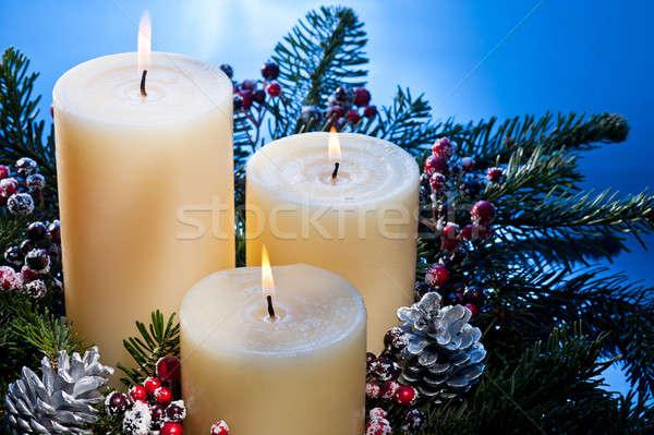 Három gyertyák advent virág egyezség karácsony Stock fotó © 3523studio