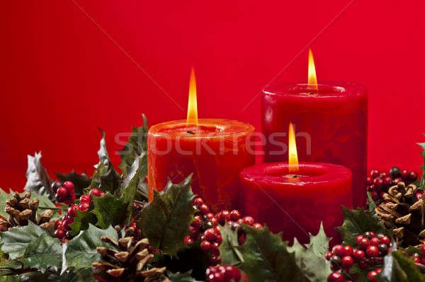 красный приход венок свечей цветок сжигание Сток-фото © 3523studio